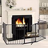 LAZYMOON Black Fireplace Fence Baby Safety Fence Hearth Gate Pet Gate Guard Metal Plastic Screen
