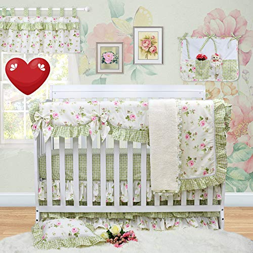 Brandream Crib Bedding Sets for Girls with Long Crib Rail Cover 100% Soft Percale Cotton, 9pcs Perfect