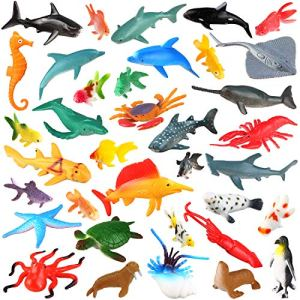 [36 Pack] Ocean Sea Animals Bath Toys for Party Favor Supplies – 2-4 inch Rubber Ocean Creatures Figureswith Marine Octopus Shark Fish Sea Life for Child Education, Party Bag Filler, Birthday Gift 51DqbPiaolL