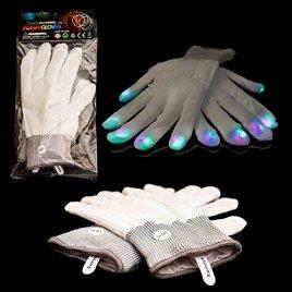 Fun Central G219, 2 Pcs, White LED Light Up Gloves, Finger Light Gloves, Glow Gloves, Glow Finger Lights, Finger Lights Gloves, Finger Lights White