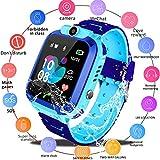 Smart Watch for Kids GPS Tracker - IP67 Waterproof Smartwatches with SOS Voice Chat Camera Flashlight Alarm Clock Digital Wrist Watch Smartwatch Girls Boys Birthday Gifts (03 Waterproof Blue)