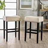 Christopher Knight Home 295743 Chantal Backless Beige Linen Counter Stools with Brass Nailhead Studs, Set of 2,