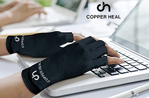 COPPER HEAL Arthritis Compression Gloves – Best Medical Copper Glove Guaranteed to Work for Rheumatoid Arthritis, Carpal Tunnel, RSI Osteoarthritis & Tendonitis Open in Fingers Fingerless Fit Size M deal 50% off 51DvKVueQrL