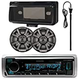 Kenwood MP3/USB/AUX Bluetooth Marine Boat Yacht Stereo Receiver Bundle Combo with 2 x  6.5' Inch 2-Way Speakers, Scosche Waterproof Stereo Cover, Enrock 22' Radio Antenna