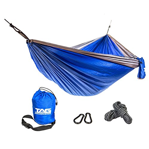 The Adventure Guys Camping Hammock - Double Hammock is Spacious, Lightweight Folding Parachute Portable Hammock is Perfect for Backpacking, Tree, Yard and Outdoor Travel