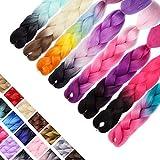 "S-noilite 24"" 100% Kanekalon Jumbo Braiding Hair Extension Dip Dye Ombre Twist Synthetic Afro Crochet Braids for Dreadlocks Crochet Box Braid Heat Resistant (1pc, Natural Black)"