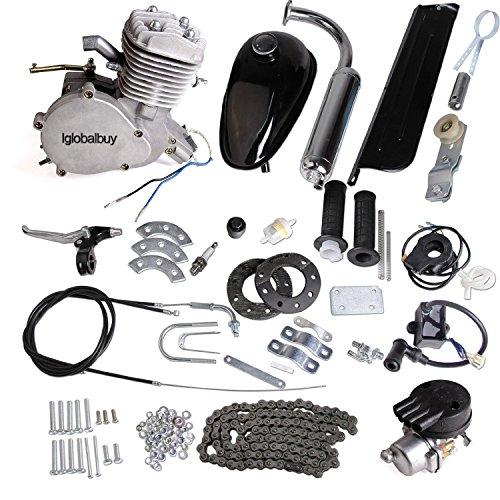 Iglobalbuy 80CC Petrol Gas Motor Bicycle Engine Complete Kit Motorized Bike 2-Stroke (Silver)