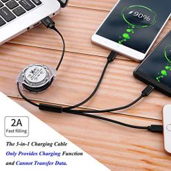 SDBAUX Multiple 3 in 1 USB Retractable Charging Cable 2Pack 3.3ft Fast Charge Charger Cord with Type C Micro USB Port Compatible with Samsung Galaxy Google Pixel LG HTC Charging Only (Black)