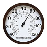 MIHE 12' Steel Enclosure Decorative Indoor/Outdoor Thermometer Large for Garden,Pool,Kitchen,Patio Wall Thermometer (Bronze)