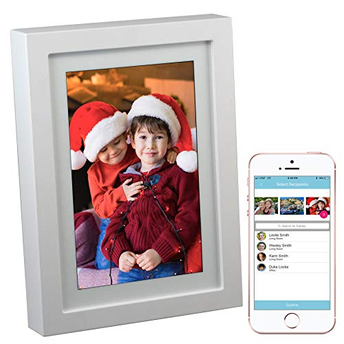 PhotoSpring 8 (16GB) 8-inch WiFi Cloud Digital Picture Frame - Battery, Touch-Screen, Plays Video and Photo Slideshows, HD IPS Display, iPhone & Android app (White - 15,000 Photos)