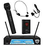 Nady UHF-24 Handheld/Lapel/Headset Microphone Dual Wireless System with True Diversity - 3 Microphone Bundle (UH-4 + LM-14 + HM-3)