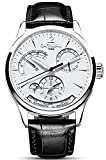 Mens Power Reserve Display Automatic-Self-Wind Watches Leather Band Luxury Waterproof Swiss Watches(Black Leather/Silver White)