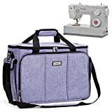 HOMEST Sewing Machine Carrying Case with Multiple Storage Pockets, Universal Tote Bag with Shoulder Strap Compatible with Most Standard Singer, Brother, Janome, Purple (Patent Pending)