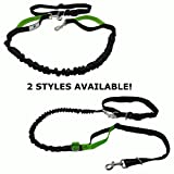 PUPPERZ Hands Free Dog Leash with Dual Easy Grab Padded Handles | Padded Waistband | Perfect for Running, Walking, Hiking & Jogging | Strong and Durable Enough For Your Medium to Large Dog
