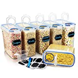 Wildone Plastic Cereal Containers Set   6 Large (16.9 Cups, 135.3oz) Airtight Food Storage Containers - Leak-proof, BPA Free Cereal Dispenser   Flour, Sugar, Dry Food Storage Containers with Blue Lids