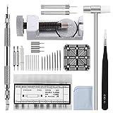 Watch Band Strap Repair Tool Kit,104 in 1 Link Remover,Spring Bar Tool with Extra 72PCS pins,20PCS Cotter Pin,1PCS Holder,1PCS Head Hammer,1PCS Tweezers,1PCS Glasses Cloth