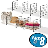 mDesign Versatile Metal Wire Closet Shelf Divider and Separator for Storage and Organization in Bedroom, Bathroom, Kitchen and Office Shelves - Easy Install - 8 Pack - Black