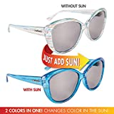 Solize Color-Changing Polarized Sunglass by Del Sol - Lifetime Protection Against Theft, Loss or Damage (Summer of Love - Clear to Blue, Revo Lens)