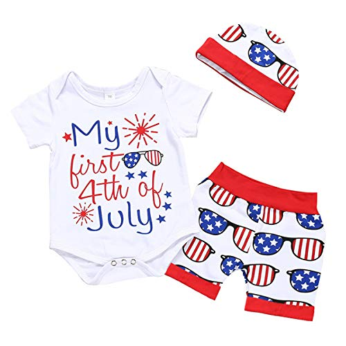 Zefeng Happy 4th of July Baby Boy Girl Outfits Bodysuit Romper+American Flag Stars Stripes Shorts Pant Clothes (6-9 Months, A-White)