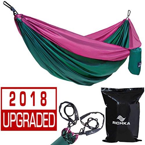 RICHKA Camping Hammock - Double Hammock - Portable Hammock - Best Outdoor Travel Hiking Patio Beach Hammock - Parachute Lightweight Nylon Hammock - Two Person Hammock - Large Hammock (Green, Purple)