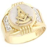 14k Two Tone Real Gold Past Master Freemason Masonic Round Mans Ring