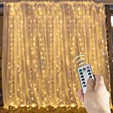 Brightown 10 Ft Window Curtain Icicle String Lights with Remote & Timer, 300 LED Fairy Twinkle Lights with 8 Modes Fits for Bedroom Wedding Party Backdrop Outdoor Indoor Wall Decoration, Warm White