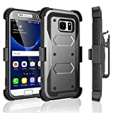 Galaxy S7 Case, Tekcoo [TShell Series] [Ash Grey] Shock Absorbing [Built-in Screen Protector] Holster Locking Belt Clip Defender Heavy Case Cover for Samsung Galaxy S7 S VII G930 GS7 All Carriers