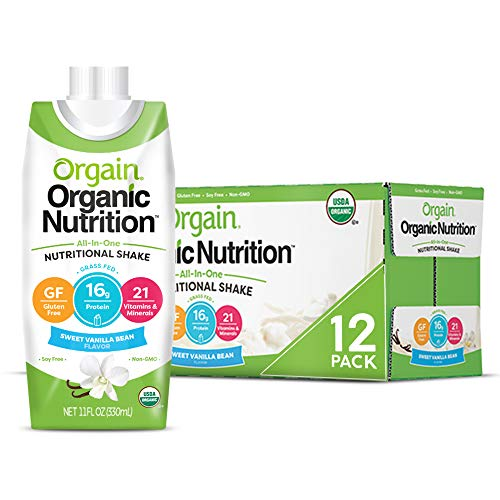 Orgain Organic Nutritional Shake, Sweet Vanilla Bean - Meal Replacement, 16g Protein, 21 Vitamins & Minerals, Gluten Free, Soy Free, Kosher, Non-GMO, 11 Ounce, 12 Count (Packaging May Vary) 1