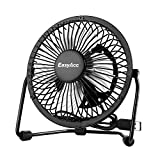 EasyAcc 4 Inch USB Fan Mini Desktop Fan Metal Blades Cooling Fan Personal Portable Fan with 360 Rotation and Adjustable Angle for Laptop Notebook Tablet PC - Black