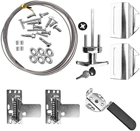 Universal Full Garage Door Lock Kit with Spring Latch and Keyed Handle Inside / Outside Safety Secure Kit