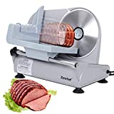 SUPER DEAL Premium Stainless Steel Electric Meat Slicer 7.5' inch Blade Home Kitchen Deli Meat Food Vegetable Cheese Cutter - Thickness Adjustable - Spacious Sliding Carriage - Easy to clean - 100% Safe to Use (Pro)