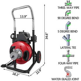 VEVOR-50-Feet-by-12-Inch-Electric-Drain-Auger-with-4-Cutter-Foot-Switch-Drain-Cleaner-Machine-Sewer-Snake-Drill-Drain-Auger-Cleaner-for-1-to-4-Pipes-50-Ft-x-12-Inch-with-Wheel