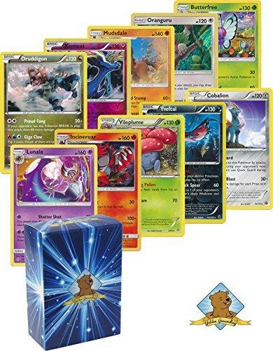 25 Pokemon Rare Card Lot 120 HP or Higher with Holos! No Duplicates! Bonus Pokemon Collectible Coin! Includes Golden Groundhog Deck Box!