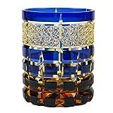 Crystal Double Old Fashioned Glass Edo Kiriko Cut Glass Amber Gradatione - Blue [Japanese Crafts Sakura]