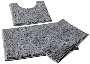 "LuxUrux 3 Pieces Bathroom Rugs Set, Non-Slip Shaggy Bathroom Mat Set, Includes U-Shaped Contour Toilet Mat, 20 x 30"" and 16 x 24"" Bath Mat, Machine Washable, Light Grey"