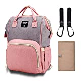 Diaper Bag Organizer Insulated Waterproof Travel Nappy Backpack Large Capacity Tote Shoulder Nappy Bags for Mommy Backpack with Multi-Function, Durable and Stylish (Grey & Pink)