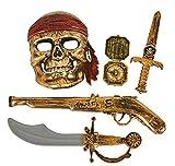 GiftExpress 5-Piece Halloween Pirate Costume Accessories for Kids, Pirate Role Play Set /Halloween Costumes for Boys/Pirate Paraphernalia (Pirate Sword, Compass, Dagger, Mask, Gun)