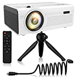 QKK Latest Upgrade 2800Lumens Mini Projector - Home Theater Projector for Indoor & Outdoor Movies & Video Games, Compatible with TV Box, PS4, DVD Player, Smartphones, 50,000 Hours LED Projector