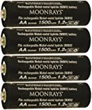 Moonrays 97143 4-Pack 1500mAh AA NiMh Pre-Charged Rechargeable Solar Batteries for Outdoor Solar Lights, Long Lasting, Compatible with Moonrays Solar-Powered Lighting fixtures, 4-Pack