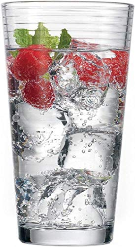 Circleware 40166 Hoop Set of 10 Highball Tumbler Drinking Glasses, Heavy Base Ice Tea Beverage Cups Glassware for Water, Beer, Juice, Bar, 15.7 oz, 10pc