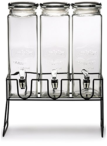 Circleware 69106 Triple XL Tall Yorkshire Beverage Drink Dispensers Lids and Black Metal Stand, 2.3 L, Clear