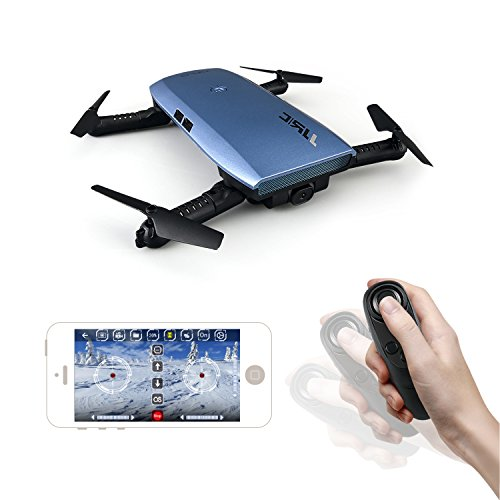 Noiposi RC Drone Quadcopter JJR/C H47 Elfie Foldable Selfie Pocket Drone Gravity Sensor Mode One hand Remote Control Mini Quadcopter with 2.0MP 720 HD Camera (Blue)
