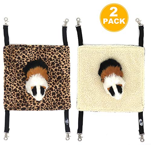 EONMIR 2Pack Small Pet Animal Hamster Hammock for Cage,House Hanging Bed Cage Toys for Mice Rats Chinchilla (Leopard Print)