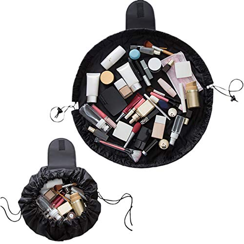 ShiyiUP Lazy Cosmetic Bag Portable Travel Large Capacity Makeup Bag Drawstrings Pouch