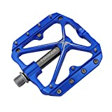 FOOKER Mountain Bike Pedals Non-Slip Bike Pedals Platform Bicycle Flat Alloy Pedals 9/16 Needle Roller Bearing