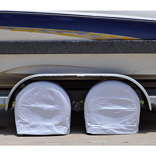 TCP Global Set of 2 Waterproof Vinyl RV Wheel & Tire Covers, Fits 26.75