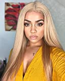 FUHSI Kanekalon Fiber 13×6 Inch Lace Real Natural For Women – Soft & Smooth, Straight Lace Front Wig, Elastic Straps, Comfortable & Adjustable –Color 103# Blonde 250D 22'