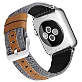 Deyo Compatible Apple Watch Bands 38mm/40mm 42mm/44mm Women Men Canvas Fabric with Genuine Leather Straps with Metal Clasp Compatible iwatch Series 4/3/2/1 (Grey42mm/44mm)