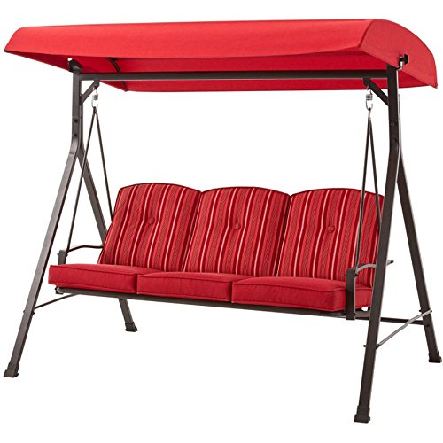 Mainstay Forest Hills 3-Seat Cushion Swing, Red