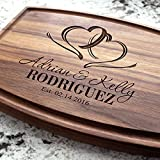 Two Hearts Wedding Personalized Cutting Board - Engraved Cutting Board, Custom Cutting Board, Wedding Gift, Housewarming Gift, Anniversary. W-027GB